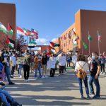 Studenti internazionali manifestano per la Palestina fra i cubi di Arcavacata